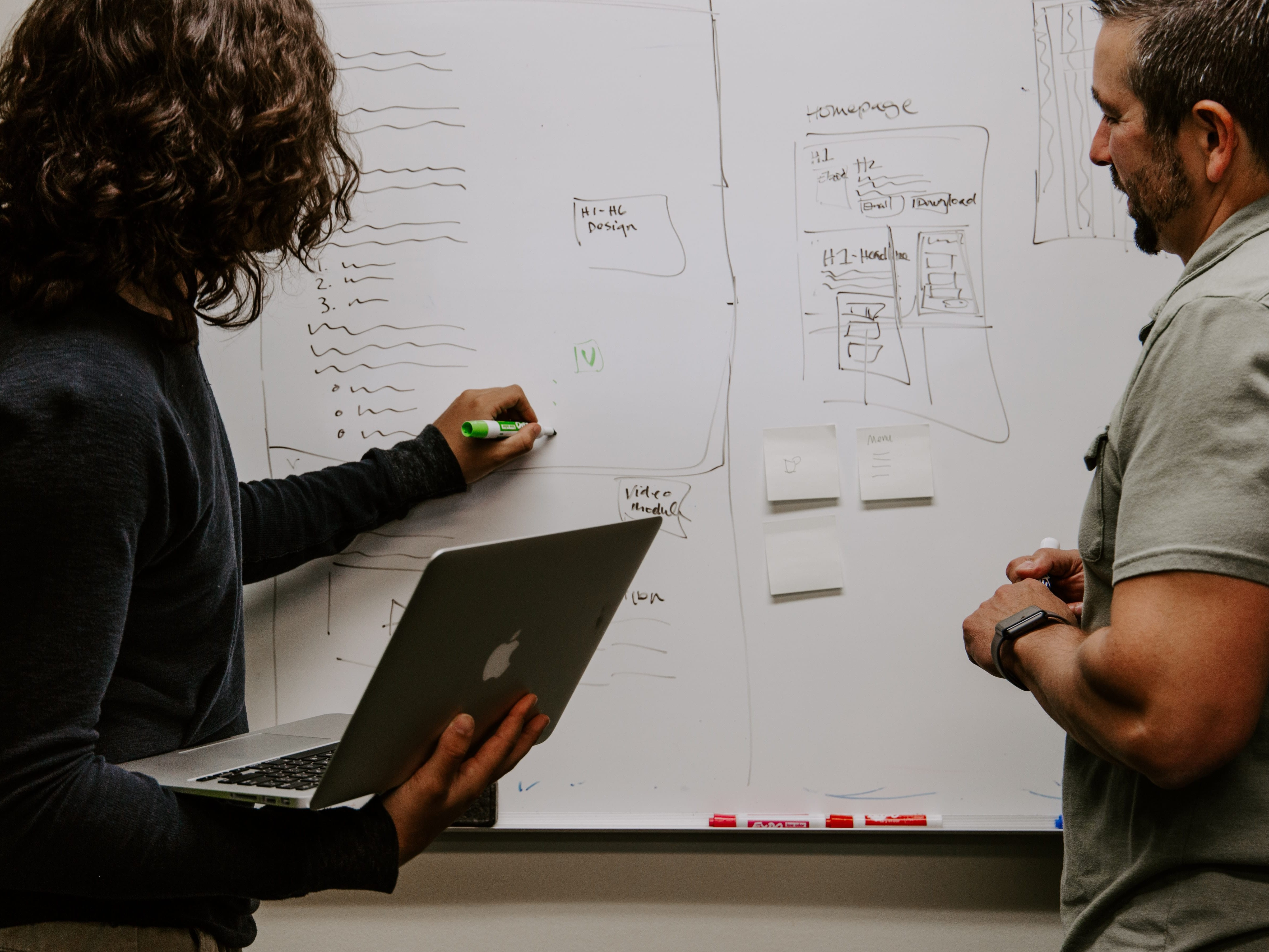 Two coworkers working on a whiteboard